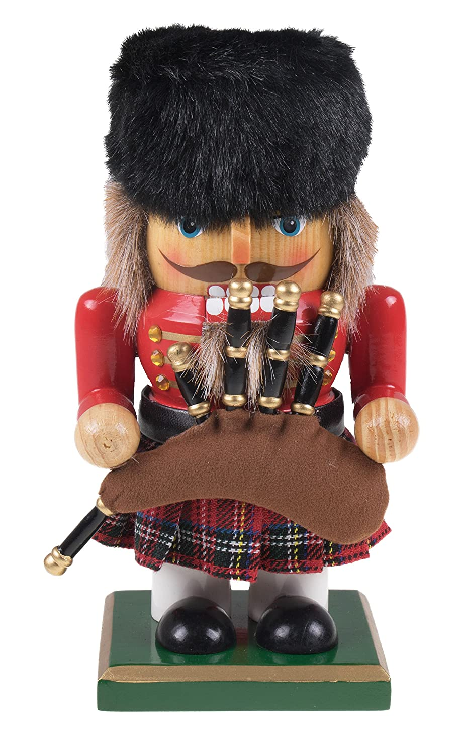 "Classic Chubby Scottish Nutcracker with Bagpipes by Clever Creations | Plaid Kilt, Beaver Hat and Bagpipes | Festive Collectable Decor | Perfect for Shelves and Tables | 100% Wood | 7"" Tall"