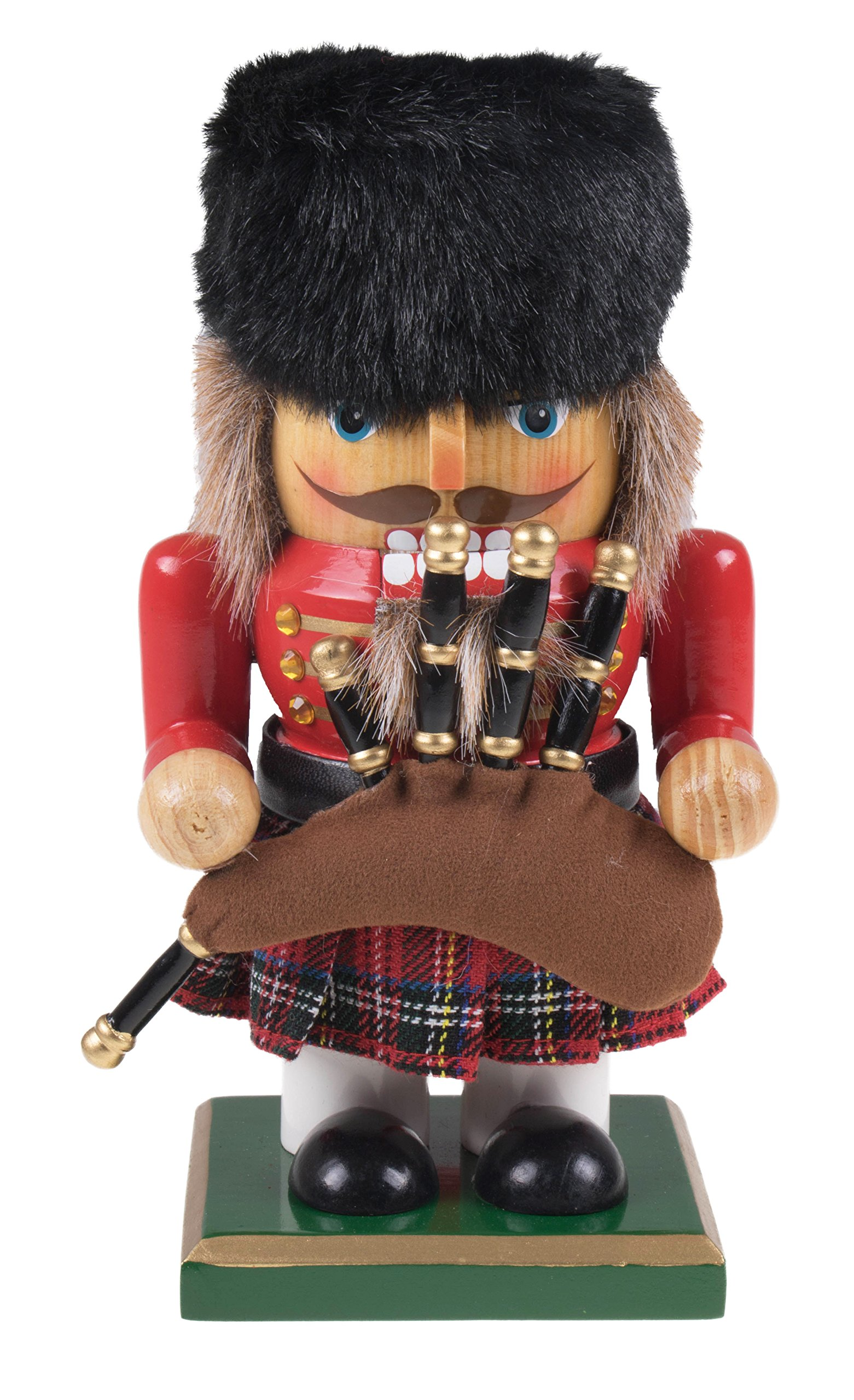 Traditional Chubby Scottish Nutcracker by Clever Creations | Collectible Short Nutcracker | Plaid Skirt & Bagpipes | Christmas Decor | Perfect for Shelves & Tables | 100% Wood | 7'' Tall