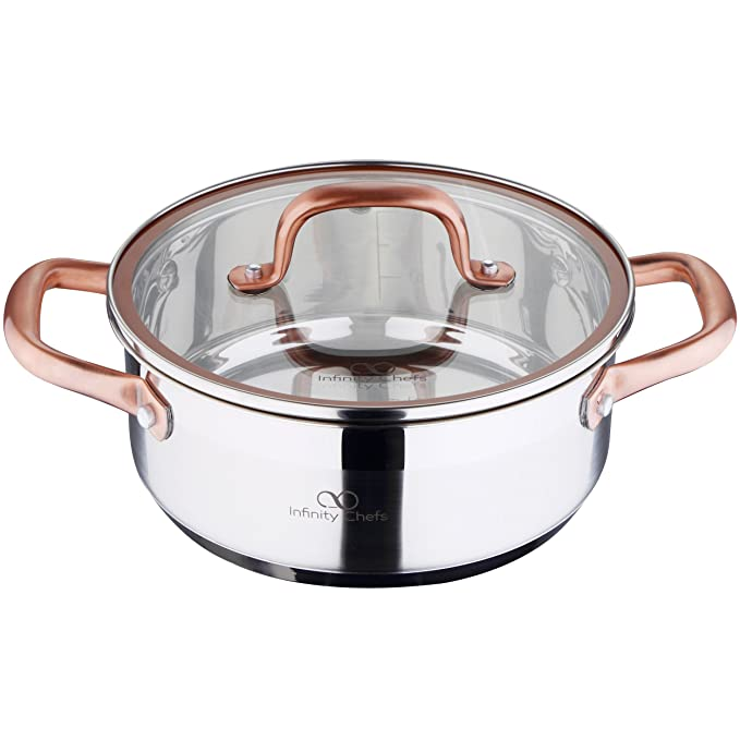Bergner Infinity Chef Cacerola de inducción con Tapa de Vidrio, Acero Inoxidable, Plateado, 20 cm: Amazon.es: Hogar