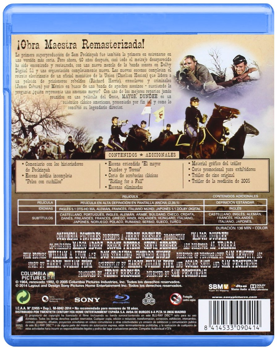 Major Dundee (V.S.O.) [Blu-ray]: Amazon.es: Charlton Heston ...