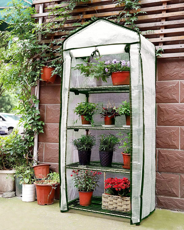 Sekey Serra da Giardino per Piante Serre in plastica con 4 Ripiani in Acciaio zincato 69 x 49 x 158 cm