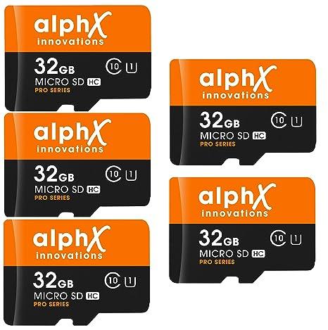 AlphX - Lote de 7 tarjetas de memoria micro SD de alta velocidad ...