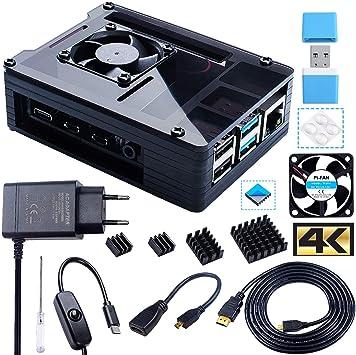 Bruphny Caja para Raspberry Pi 4, Caja con Ventilador, 5V 3A USB-C Cargador, 4 x Disipador, 1.8M Micro-HDMI Cable, USB Lector de Tarjetas, HDMI-Micro HDMI Adaptador para Raspberry Pi 4 Modelo B: