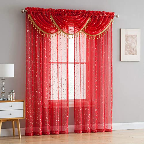 Luxury Home Textiles Adeline 5 Piece Curtain Set with Beaded Austrian VALANCES Red Gold