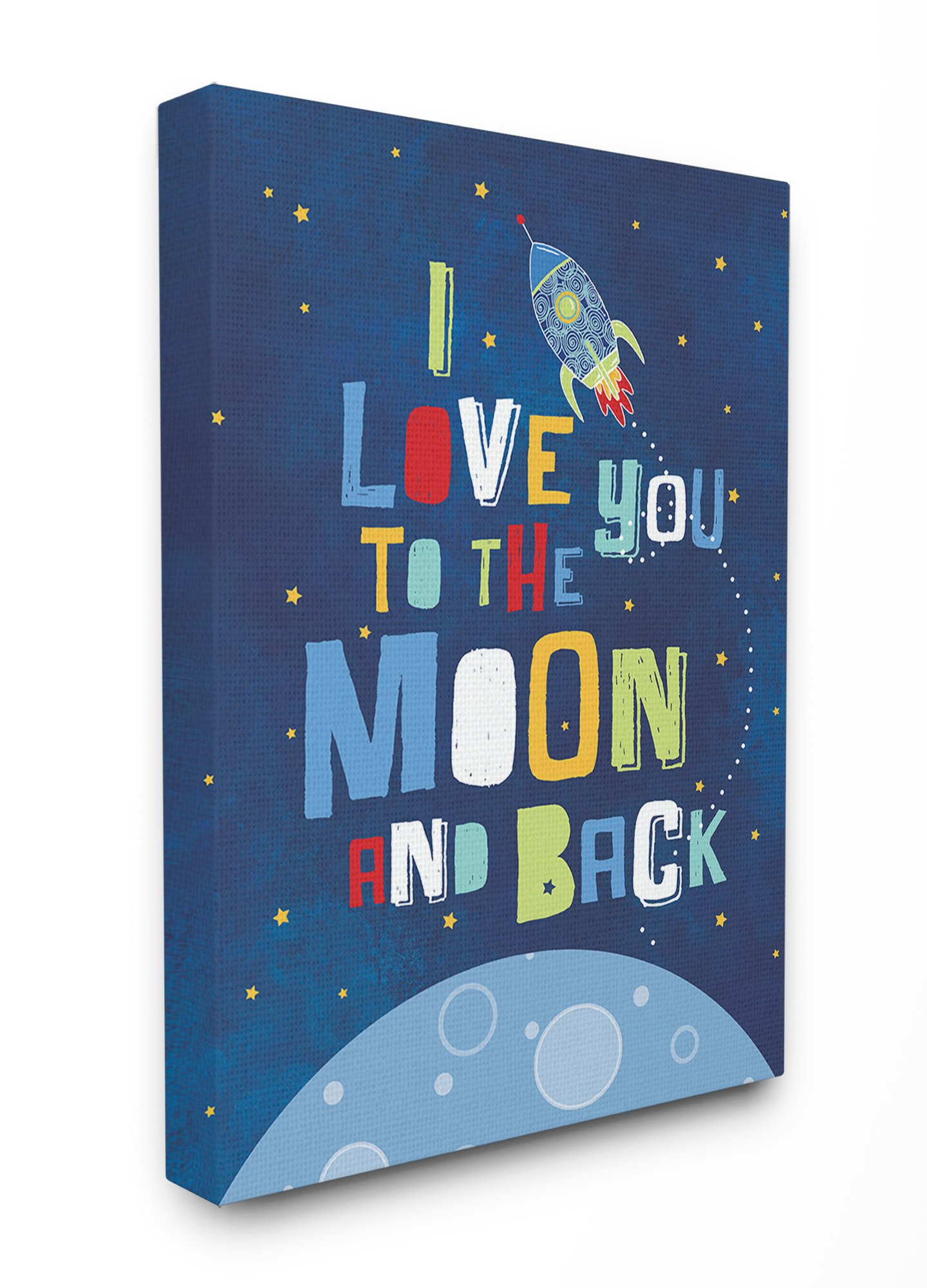 Stupell Home Décor I Love You Moon and Back Rocket Ship Stretched Canvas Wall Art, 16 x 1.5 x 20, Proudly Made in USA
