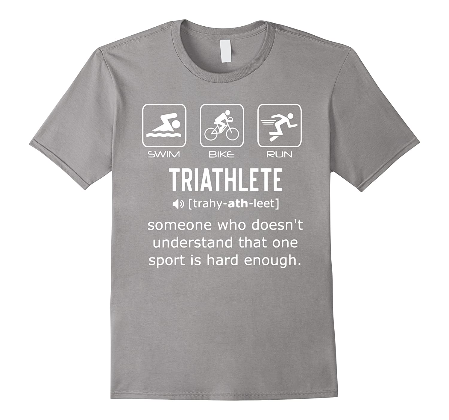 Funny Triathlon Shirt- Triathlete Definition Swim Bike Run-TD