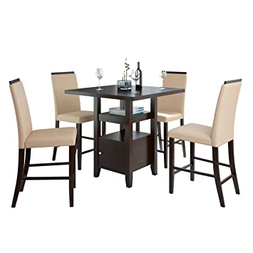 CorLiving DPP 690 Z1 5 Piece Bistro Counter Height Rich Cappuccino Dining  Set