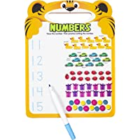 Active Minds - Numbers Write-and Erase Wipe Clean Learning Board - Striped Tiger - Ages 4 and Up