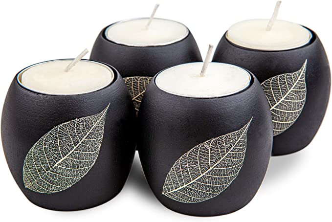 Wood Tray Baimai Tea Light Candle Holder Set of 3 with Real Leaf Decorative Candle Holders
