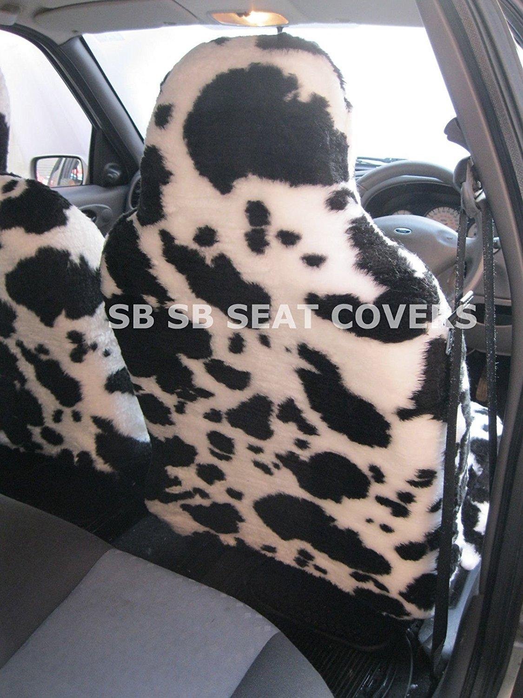 2/frentes blanco y negro piel sint/ética de vaca fundas para asiento Para un Mini Countryman