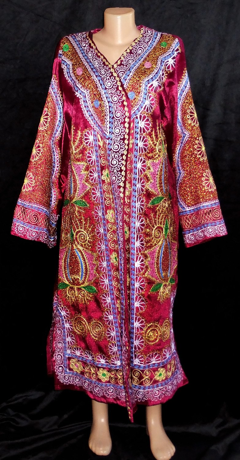 TRADITIONAL BUKHARA OUTWEAR COSTUME ROBE JACKET SILK GOLD EMBROIDERED A11723