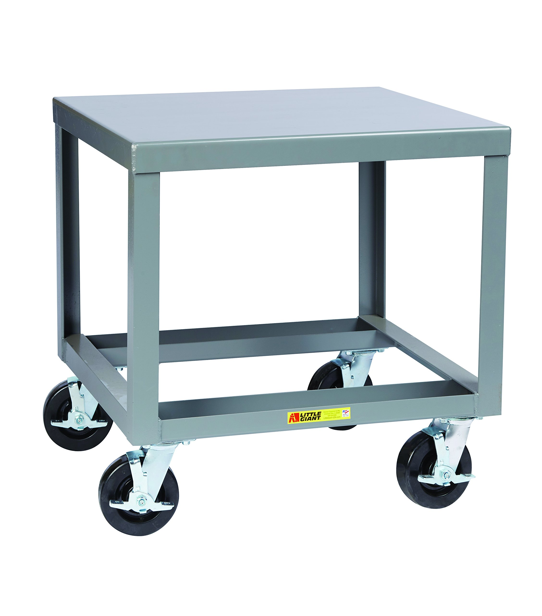 Little Giant MTH3036-6PHBK30 Mobile Machine Table, 3600 lb. Capacity, 30'' x 36'' Top, 36'' Length, 30'' Width, 30'' Height, 7 Gauge, Gray