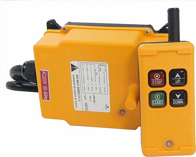 MXBAOHENG HS-4 Polipasto Grúa Industrial Mando a Distancia HS-4 Transmisor Remoto Inalámbrico Interruptor 1 Transmisor 4 Canales 220VAC