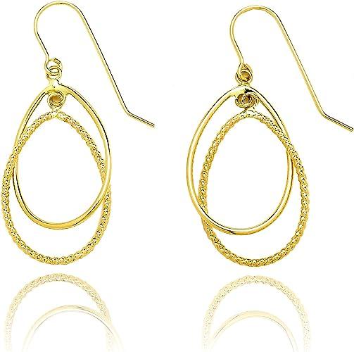 14k Yellow Gold Polished Double Teardrop Earrings