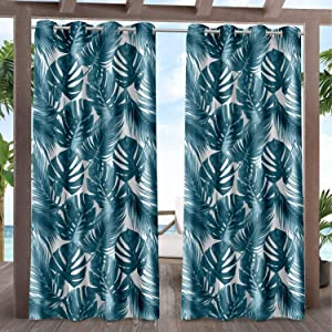 Exclusive Home Curtains Jamaica Palm Indoor/Outdoor Light Filtering Grommet Top Curtain Panel Pair, 54x84, Blue