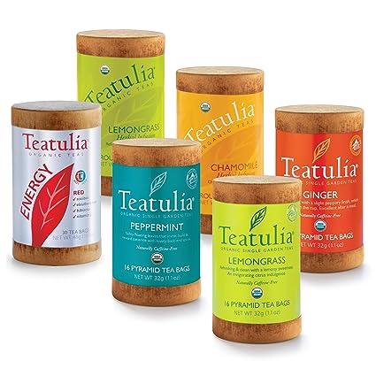 Teatulia – Juego de té de hierbas orgánicas – 6 muestras de ...