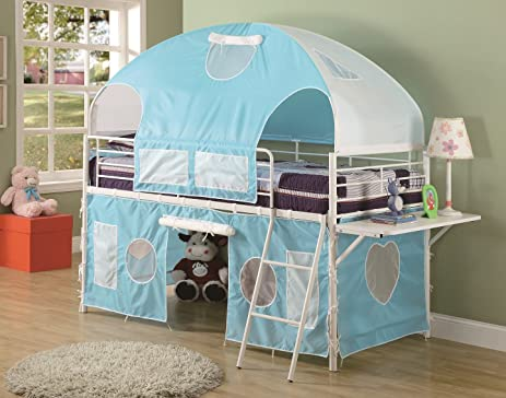 Boys Tent Twin Size Loft Bunk Bed in Light Blue u0026 White Finish & Amazon.com: Boys Tent Twin Size Loft Bunk Bed in Light Blue ...