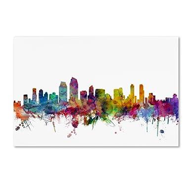 San Diego California Skyline by Michael Tompsett, 22x32-Inch Canvas Wall Art
