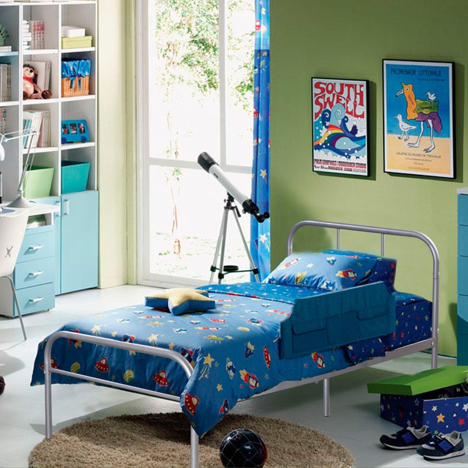 Kingpex Metal Bed Frame Twin Size Sliver / 6 Legs Platform Mattress Foundation Headboard Footboard/No Box Spring Needed Boys Kids Adult Bedroom