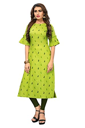 e86befe9633 Radhe Fashion Womens Khadi Cotton Green Straight Animal printed,bell half  sleeve, boatneck,kneelong kurti for Casual wear (Free size).: Amazon.in:  Clothing ...