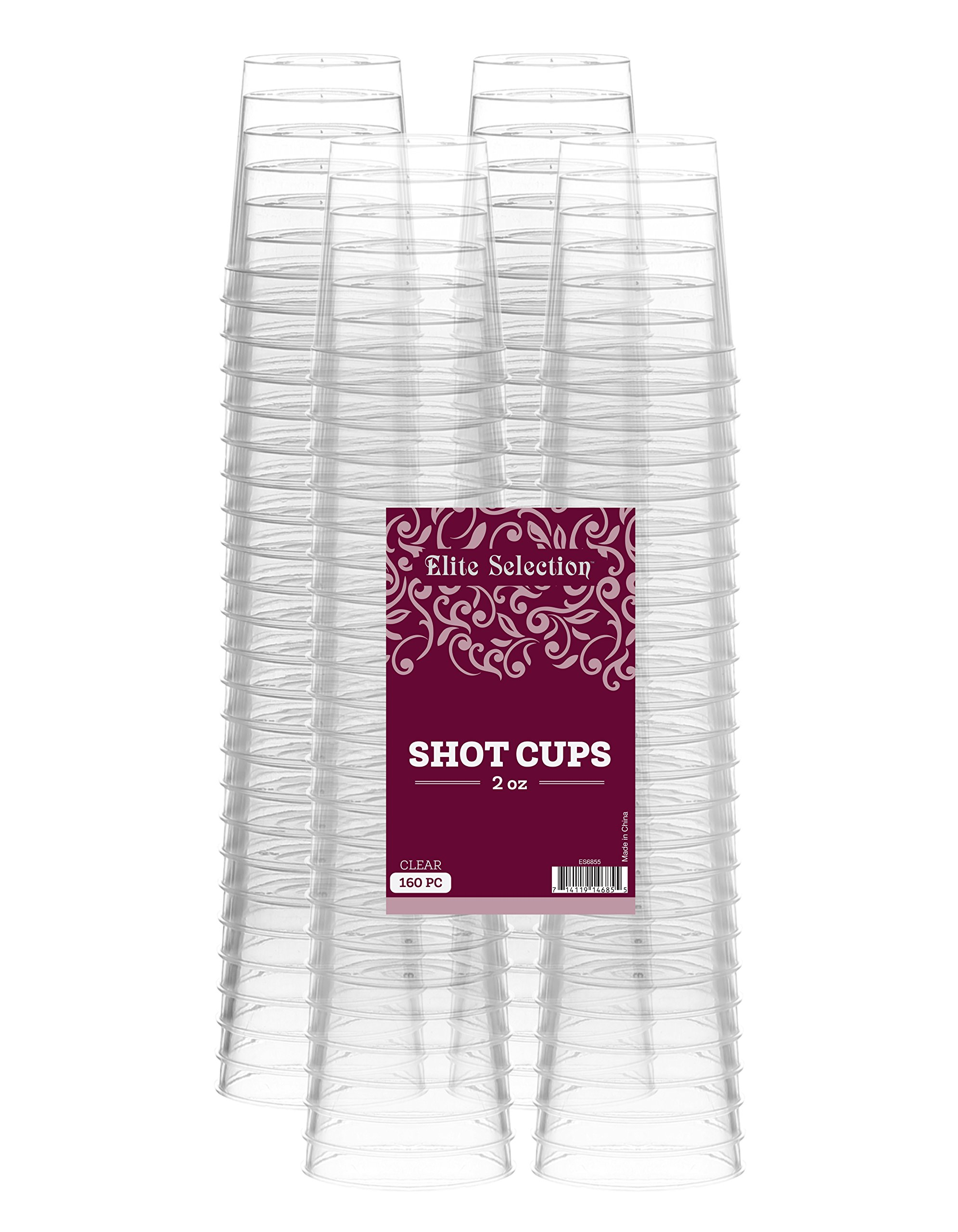 Elite Selection Shot Glasses 2 Oz. Clear Hard Plastic Cups Disposable | Pack of (160) Nice Party Shot Cups - Tasting Cups-Party Accessories