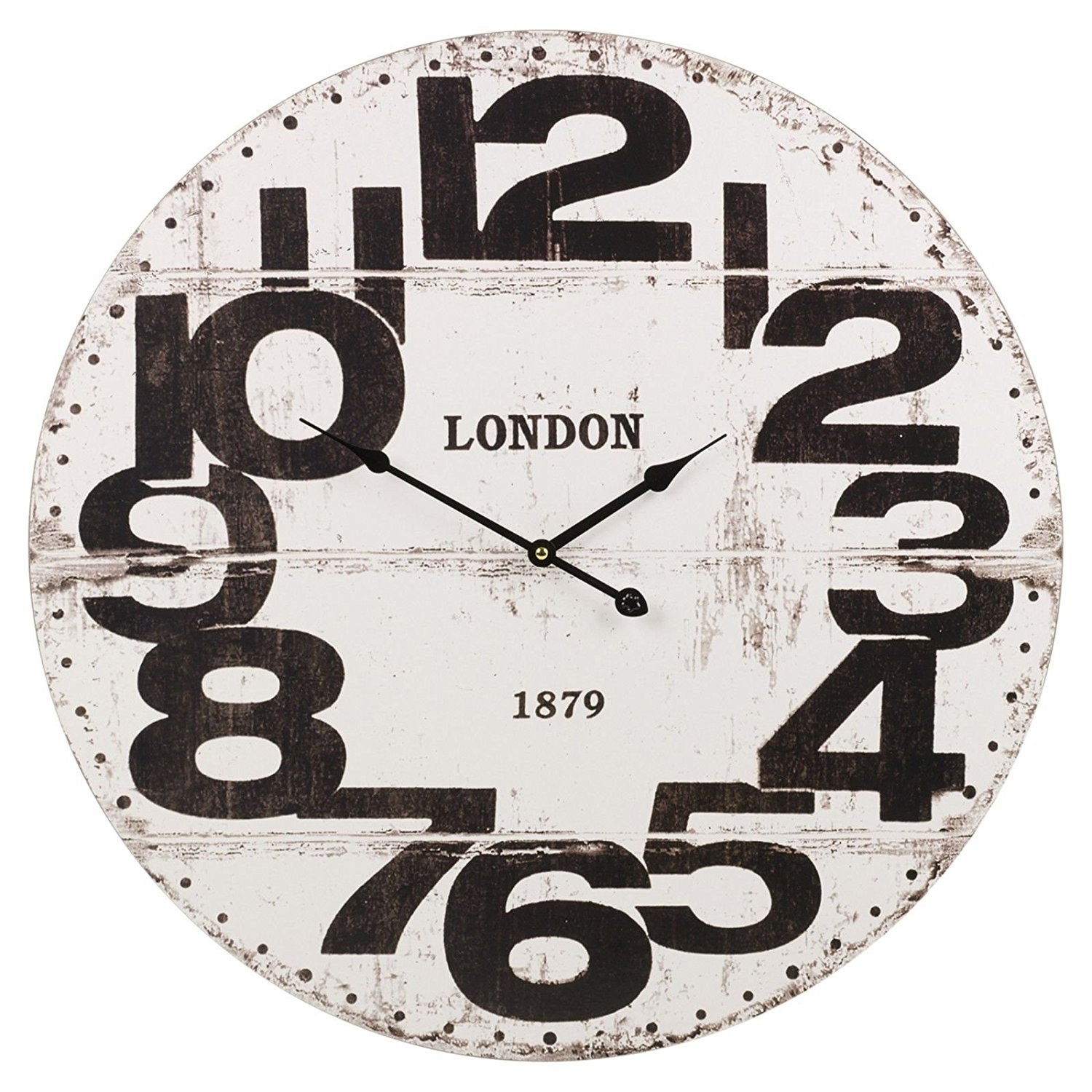 Easygift Products Large Wood Vintage Wall Clock Round 24'' Big Display (White)