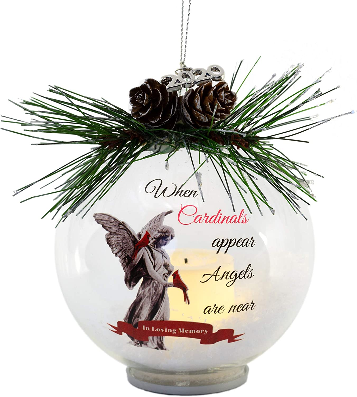 Amazon Com Memorial Christmas Ornament With A Beautiful Angel And Red Cardinal Dated 2020 Lighted Led Glass Ball With White Glittery Snow And Pinecones And Greenery Bereavement Remembrance Sympathy Home Kitchen