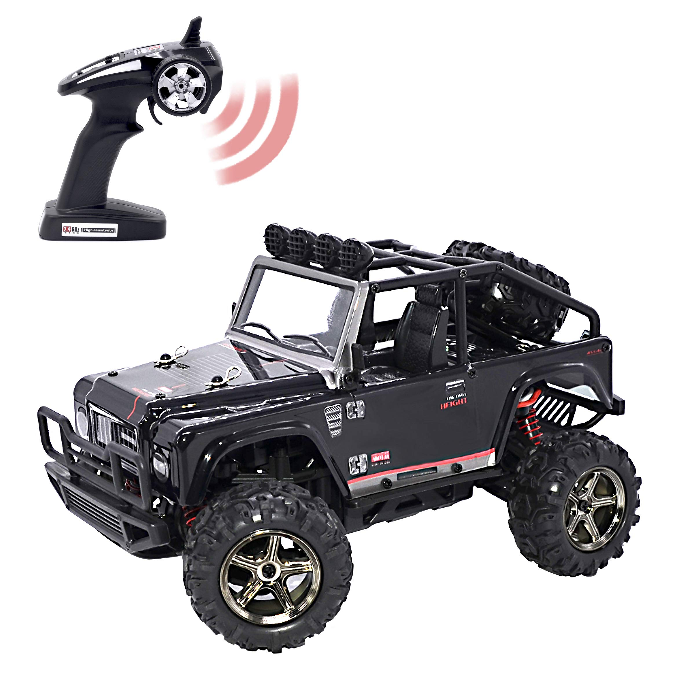 KELIWOW 1:22 Scale 4WD RC Jeep 25 Mph High Speed Off-Road RC Truck 2.4GHz Brave Remote Control Electric Car with Independent Suspension and LED Lights RTR (Black)