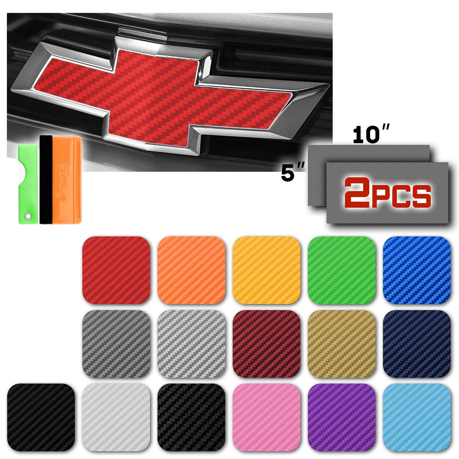 EZAUTOWRAP Free Tool Kit 2Pcs 5x10 Chevy Emblem Bowtie Satin Chrome Black Vinyl Wrap Sticker Decal Film Sheet