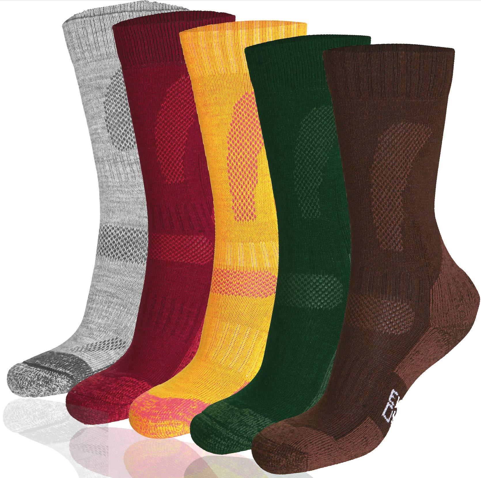 DANISH ENDURANCE Merino Wool Hiking & Trekking Socks (Multicolor: Brown, Red, Green 3 Pairs, US Women 8-10 // US Men 6.5-8.5)
