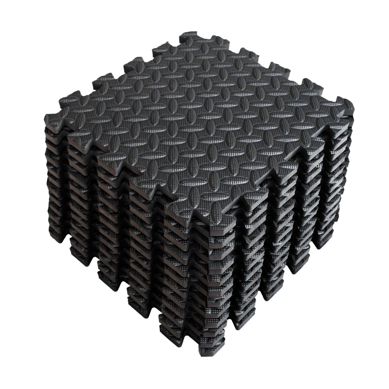 A2ZCare パズルエクササイズマット EVAフォーム インターロック式タイル 床保護材 ホームジム/エアロビクス/トガ/ピラティスに最適 B01MTRA3E9 Black (12pcs) Black (12pcs)