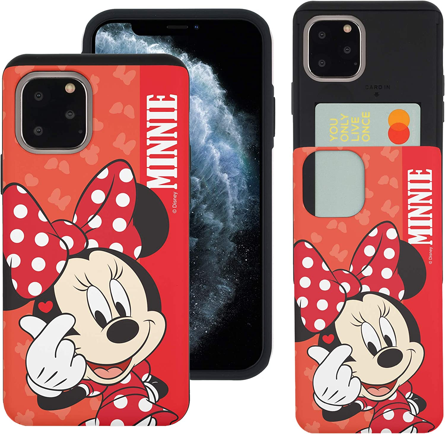 WiLLBee Compatible with iPhone 12 Pro/iPhone 12 Case (6.1inch) Dual Layer Card Slide Slot Wallet Bumper Cover - Heart Minnie Mouse