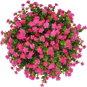 Momkids 6 Pcs Outdoor Artificial Plants Flowers Uv Resistant Plant Fake Plastic Greenery Shrubs Hanging Planter Home Kitchen Garden Balcony Window Sill Decor(Rose Red)