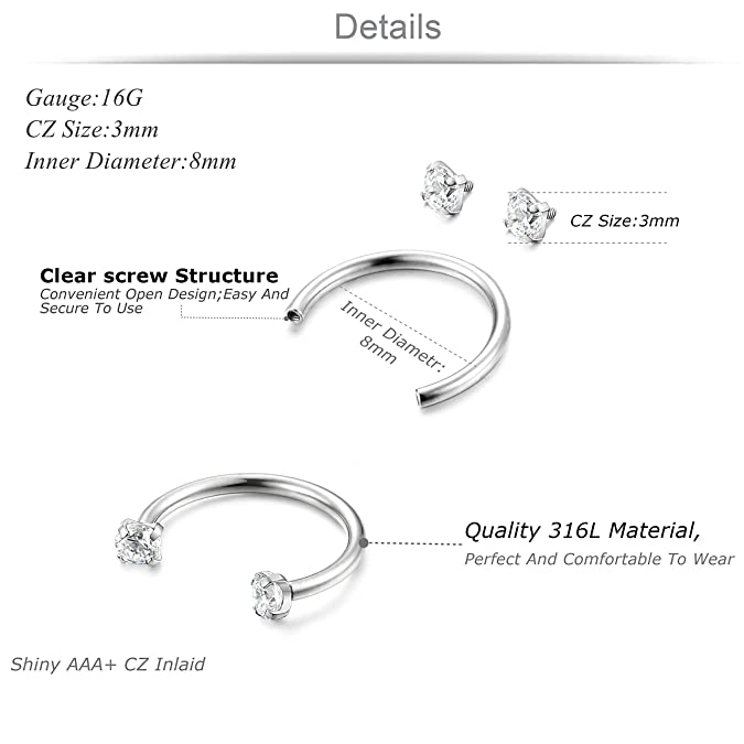 Jstyle 3pairs Stainless Steel Nose Ring Hoop Cz Nose Piercing Helix