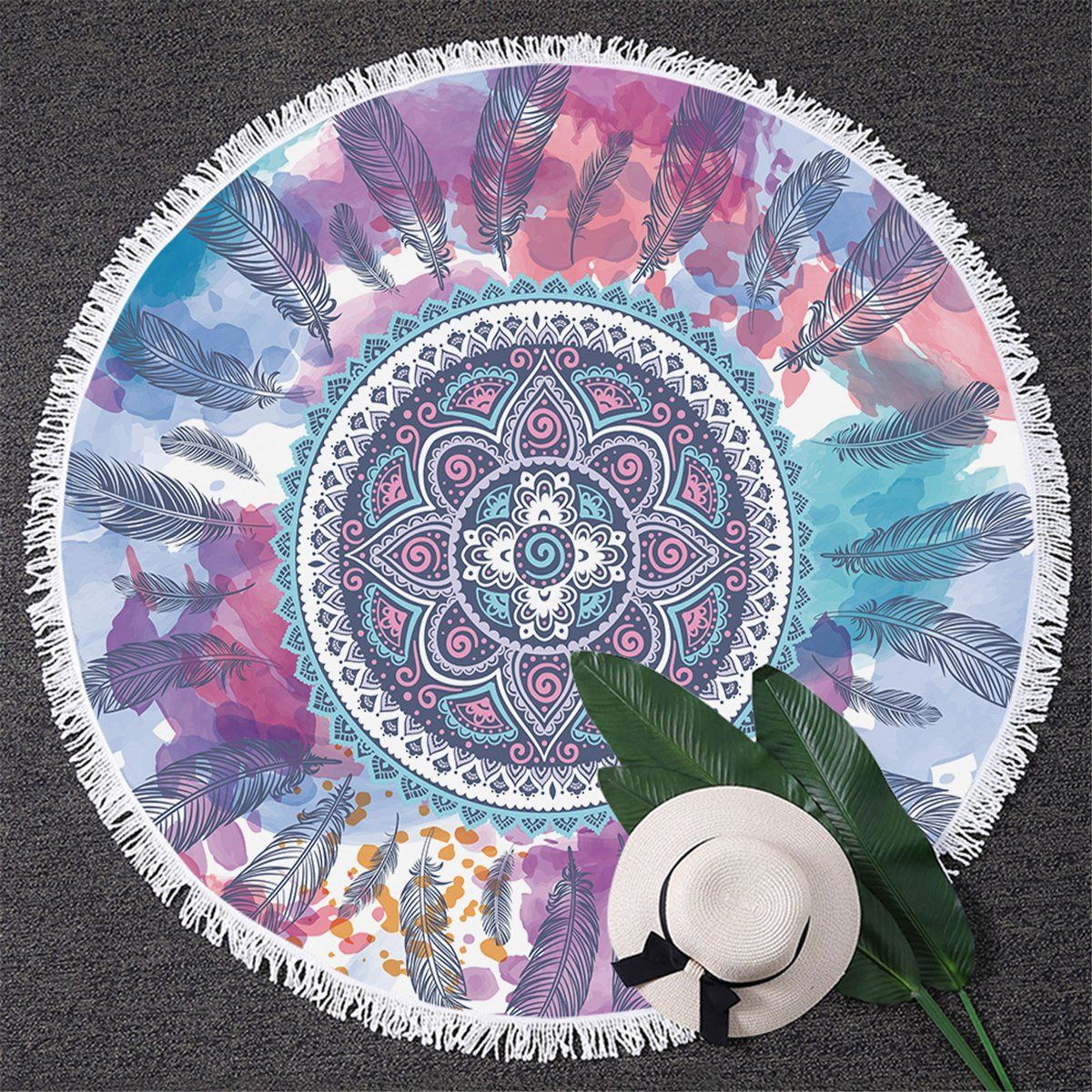 Blessliving Pink and Aqua Beach Roundie Mandala Feathers Hippie Round Beach Towel Circle Yoga Mat (59 inch)