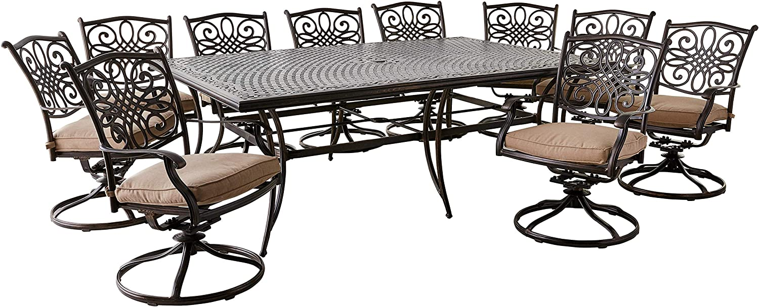 Hanover TRADDN11PCSW10 Traditions 11-Piece Dining Set, Tan