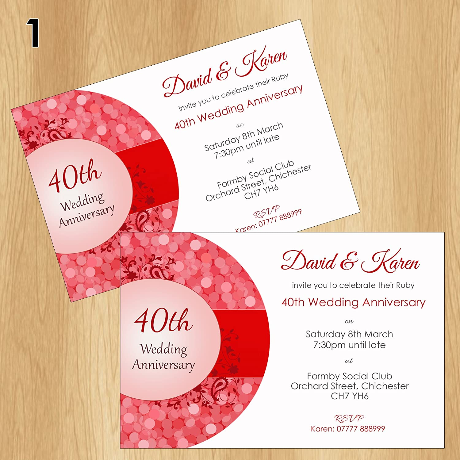 40th Ruby Wedding Anniversary Invitations Personalised Invites ...