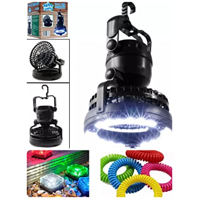 Kit de camping et de randonnée, Camping LED Flashlight Ventilateur de plafond +5 Pack Solar Path Ice Cube Lights Lampe LED imperméable à l'eau et 5 Pack Bracelet anti-moustique naturel Bracelet imperm&eac