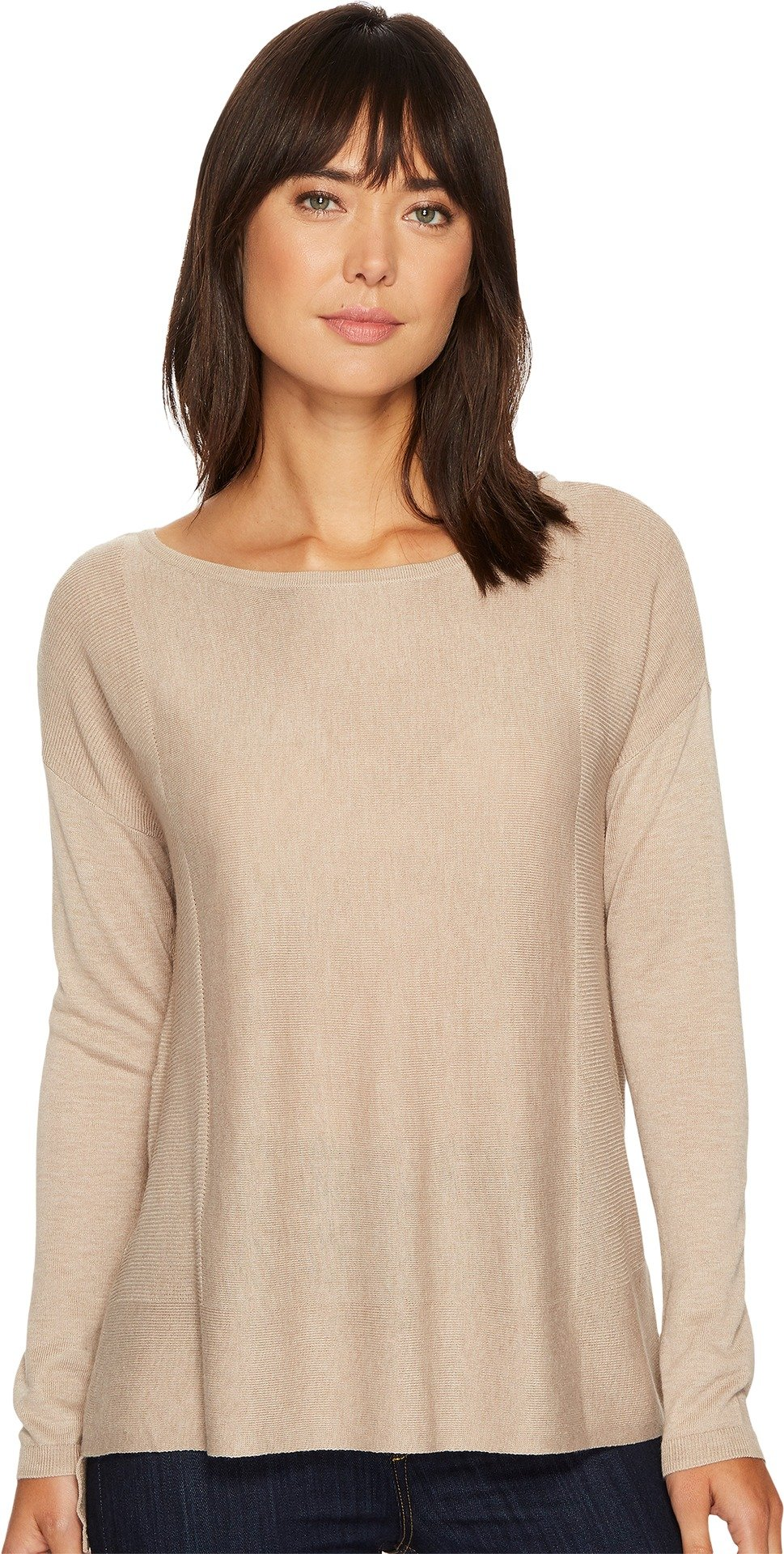 NYDJ Women's Boat Neck Sweater with Split Back, Taupe Heather, Large