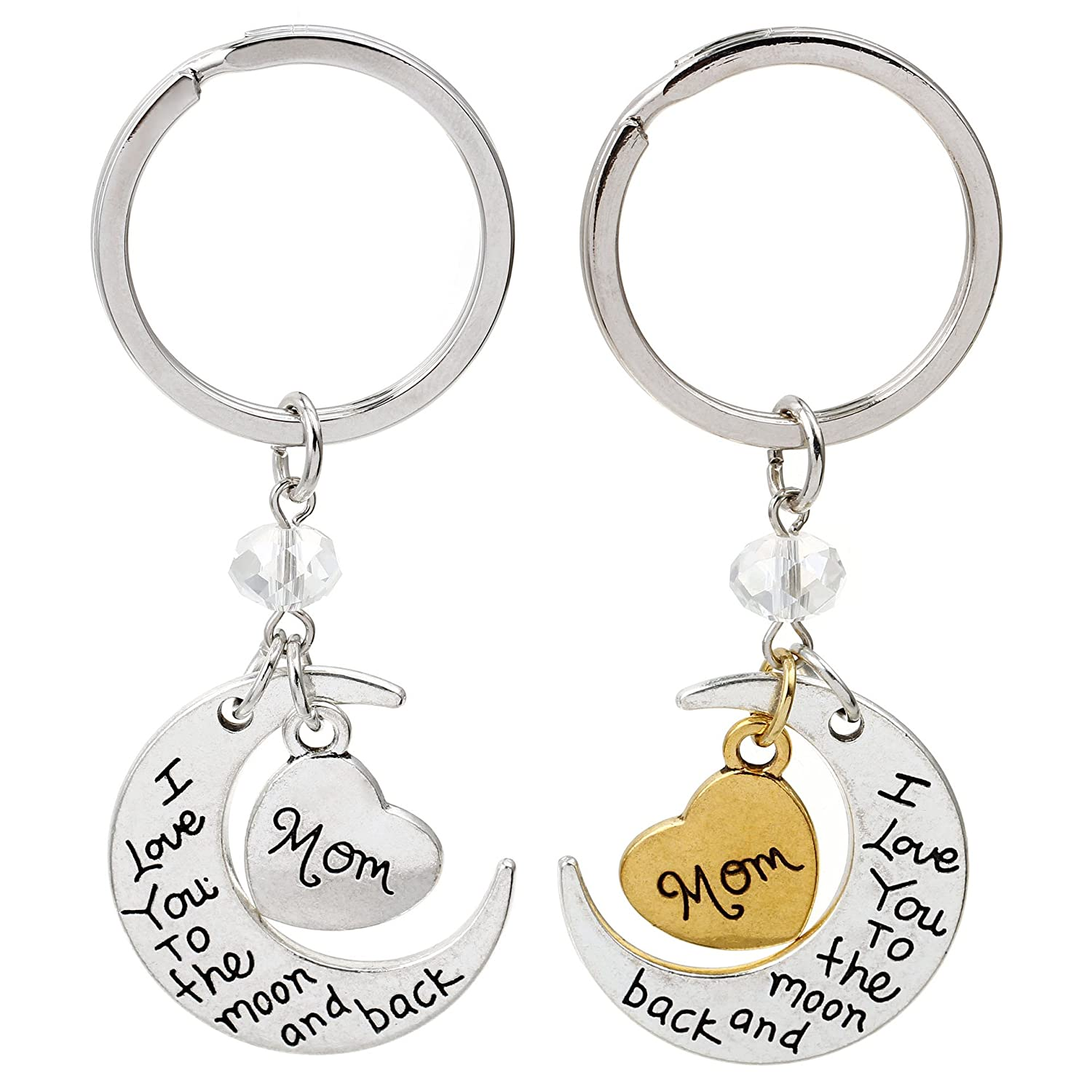 Loving Heart Moon Metal Alloy Key Chain,2-Pack Jzcky Shzrp I Love You to The Moon and Back Inspirational Messaged Fashion Keychain Pendants