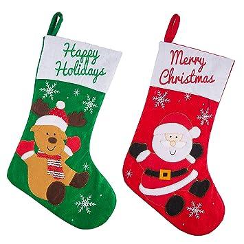 ZOEON 2Pcs Calcetines de Navidad Decoración Navideña Calcetín de Navidad Bolsa de Regalo: Amazon.es: Hogar