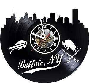 MZshop25 Buffalo NY Skyline Handmade Vinyl Record Wall Clock - Best Gift for Boss Dad Mom Boy Girl Kovides Vinyl Wall Clock Home Decoration Room Inspirational, Vinyl Wall Clock Silent Wall Art (3)