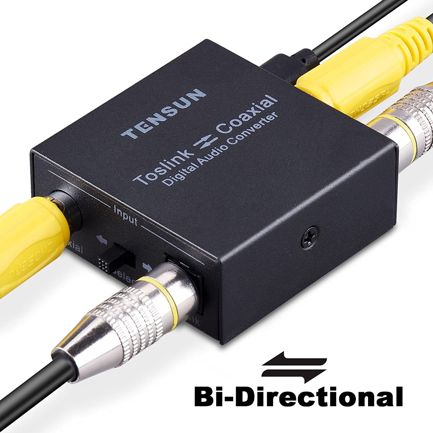 Tensun Optical to Coaxial Converter, Optical to Coax Digital Coax Coaxial to SPDIF Toslink Optical Bi-Directional Digital to Audio Converter Adapter Repeater TEN-HD007