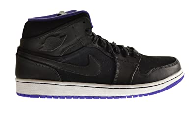 Air Jordan 1 Mid Nouveau Men's Shoes Black/Black-Dark Concord-White 629151
