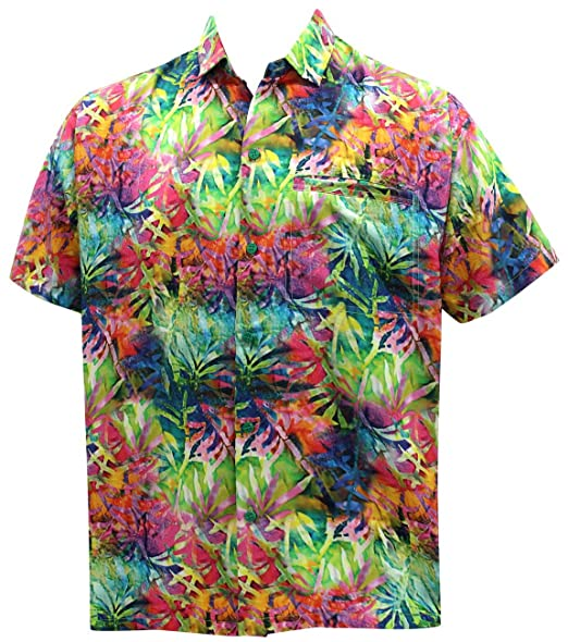 La Leela Men's Hawaiian Button Down Short Sleeve Pocket Shirt Floral Print Blue