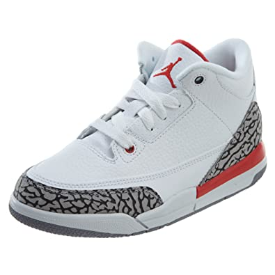 afe3f84a274 Nike Preschool Jordan Retro 3 quot Katrina White Fire Red-Cement Grey (3