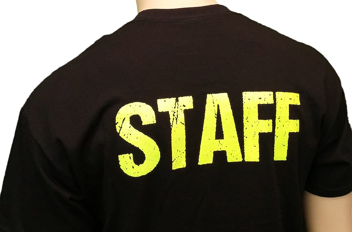 Black t shirt with neon letters - Amazon Com Black Staff T Shirt Front Back Print Mens Event Shirt Neon Yellow Print Tee Clothing