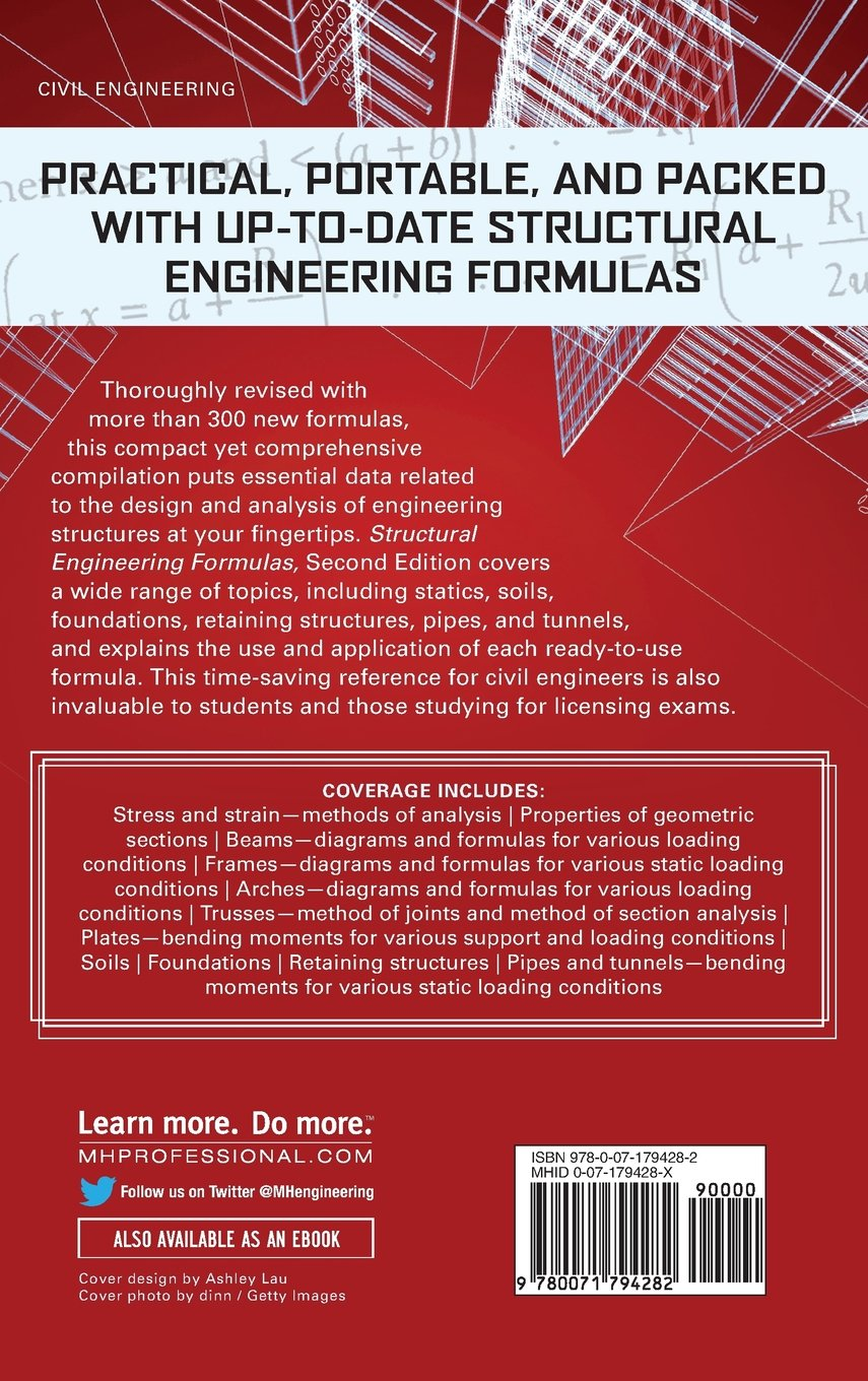 Structural Engineering Formulas Second Edition Tyler Beam Diagram And Hicks Ilya Mikhelson 9780071794282 Books