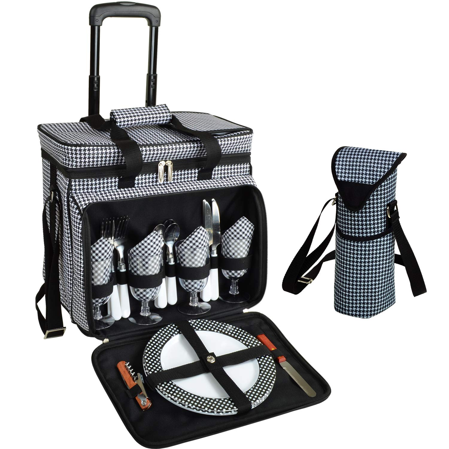 Picnic at Ascot Original Equipped Cooler on Wheels for 4 - Extra Wine Tote - Designed and Assembled in California - Houndstooth by Picnic at Ascot (Image #1)