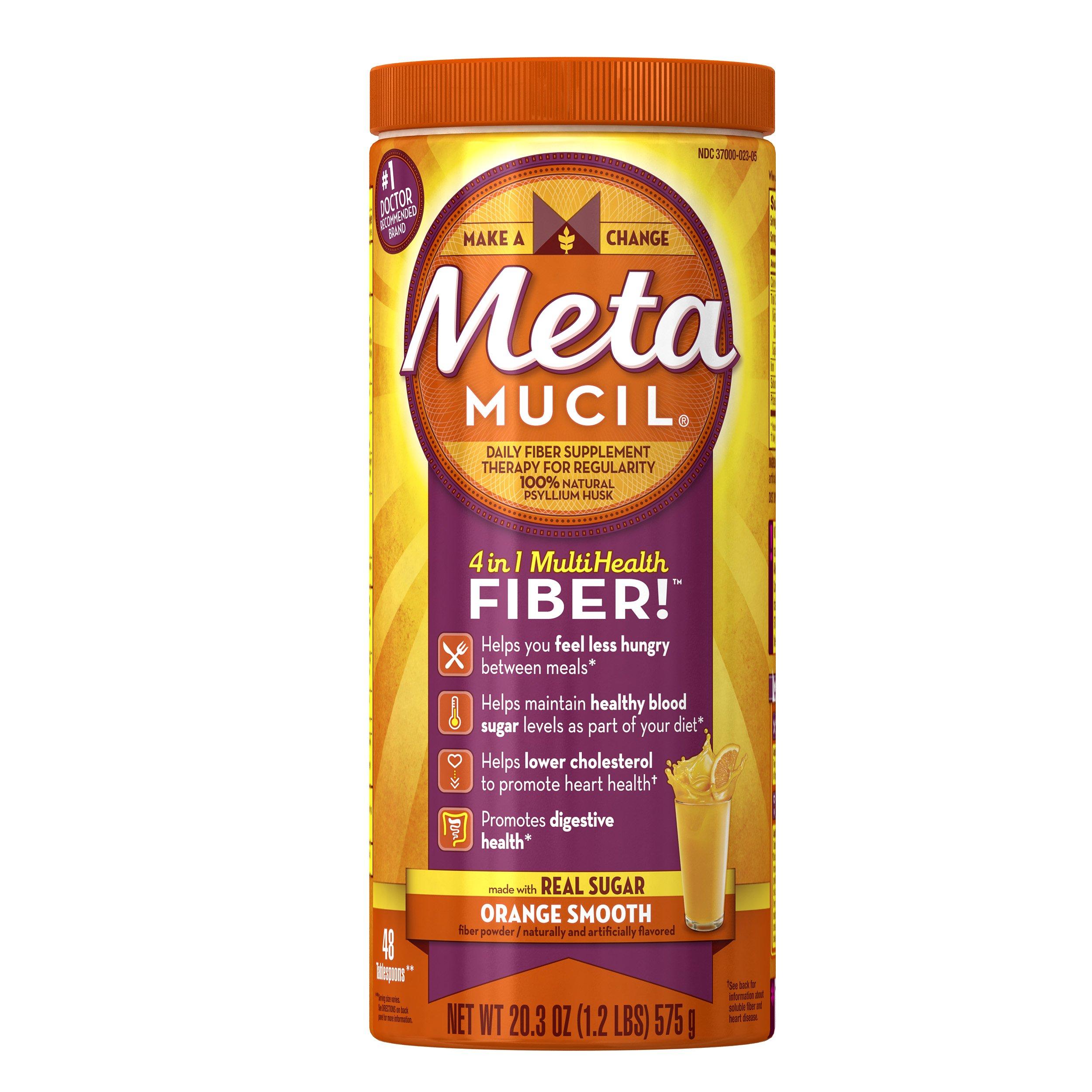 Metamucil Daily Fiber Powder Supplement, 100% Natural Psyllium Husk, Orange Smooth Sugar Fiber Powder, 48 Dose, 20.3 Ounce